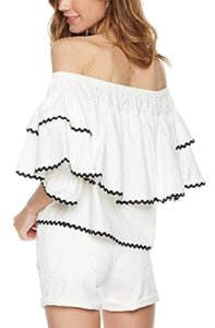 Plumberry Crop Ruffle Open Shoulder Top White