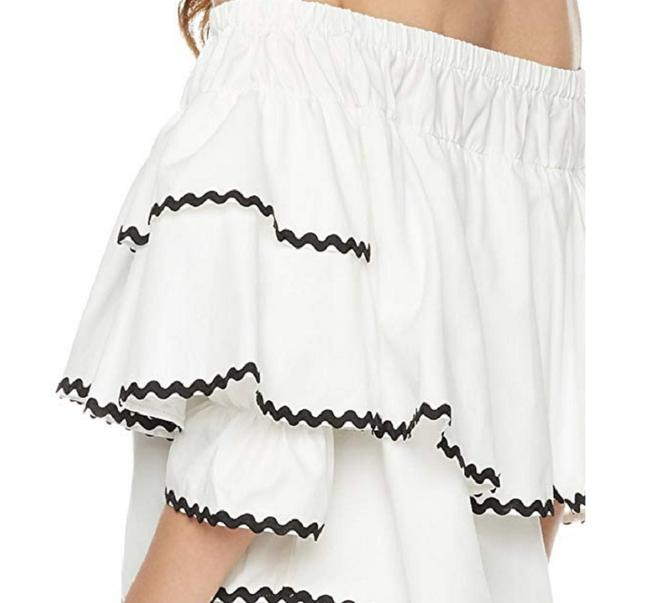 Plumberry Crop Ruffle Open Shoulder Top White Image 1