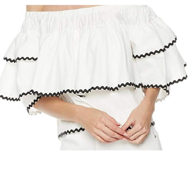 Plumberry Crop Ruffle Open Shoulder Top White Image 2