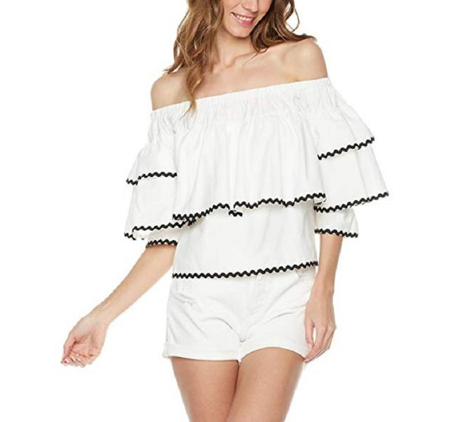 Plumberry Crop Ruffle Open Shoulder Top White Image 3