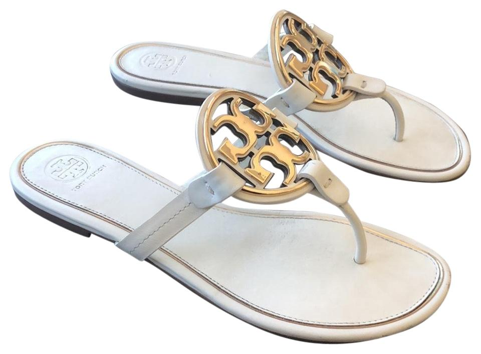 aa43df1eec5f Tory Burch Bleach   Gold Miller Metal Logo Leather Sandals Size US 9 ...