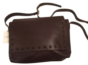 Valentino Rockstud Front Flap Brown Messenger Bag