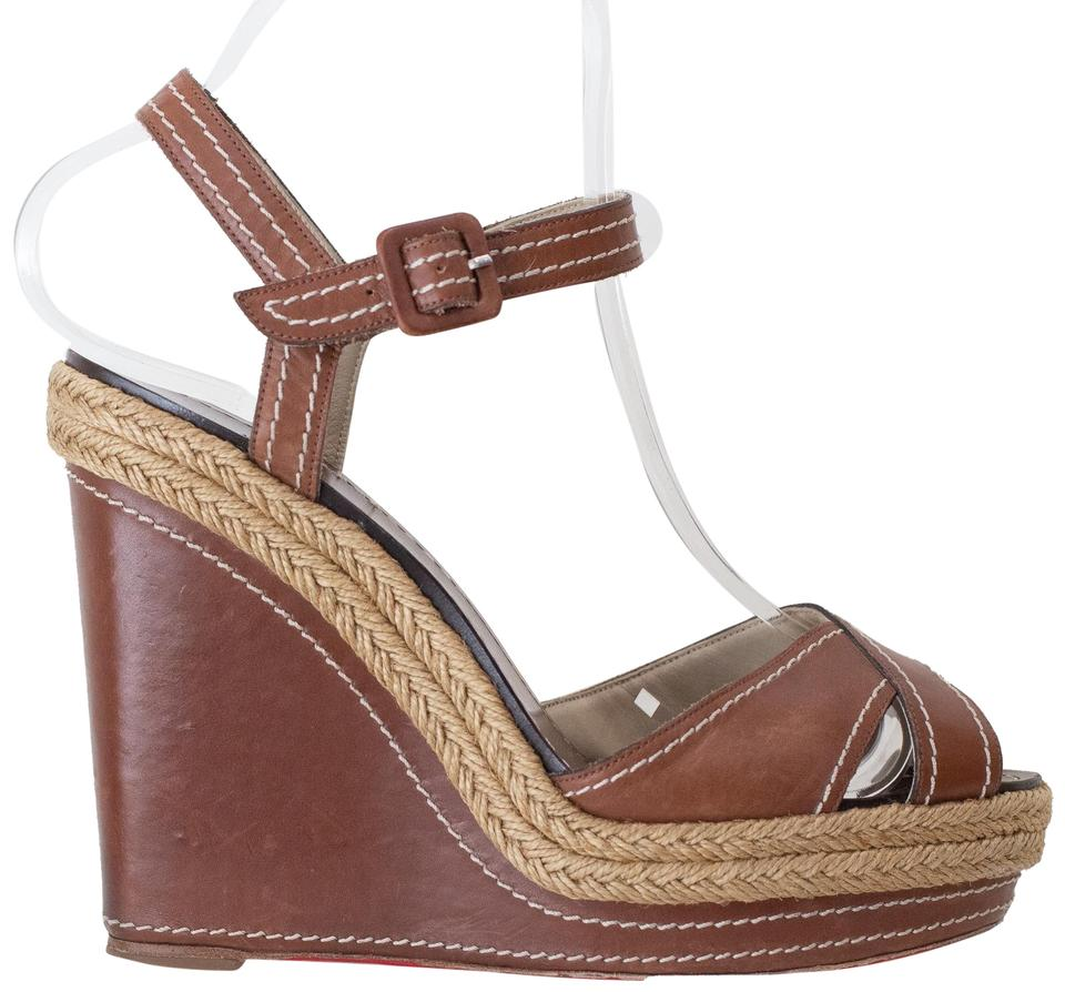 94b5710c49cd Christian Louboutin Brown Almeria Leather Wedges Size EU 39 (Approx ...