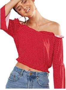 Cotton On Crop Plus-size One Shoulder Ruffle Polka Dot Top Red