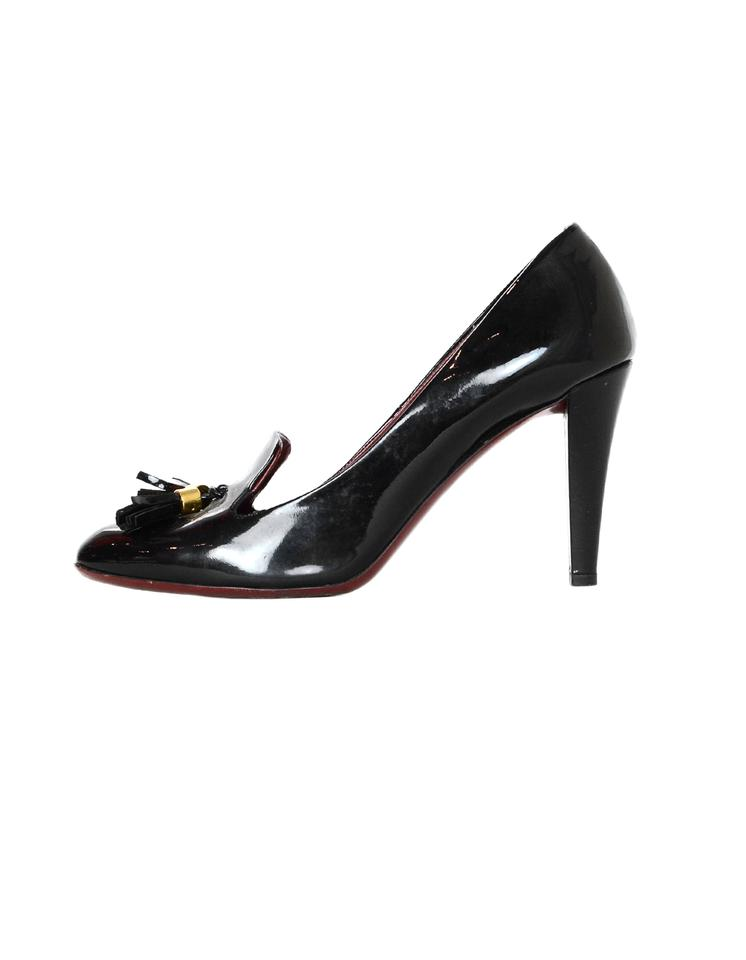ad4bf43b1c1f Gucci Black Patent Leather Heels with Tassel Pumps Size EU 40 ...