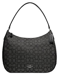 Coach F29959 Signature Jacquard Black Smoke Canvas Shoulder Bag ... 70b4909dc849f