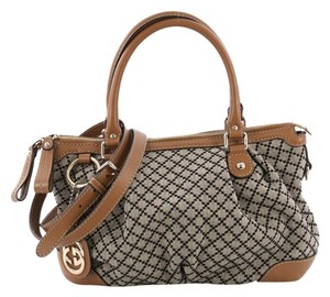 Gucci Canvas Satchel in beige and black and brown