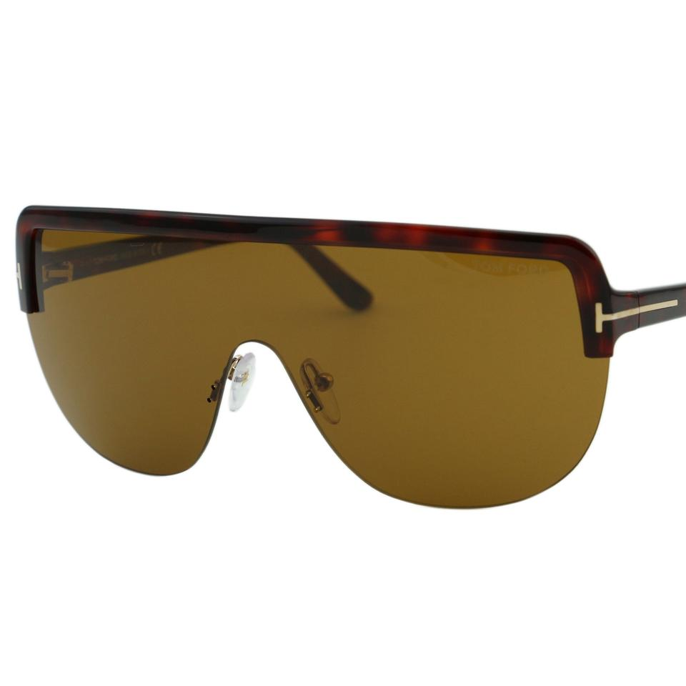 13732314965d Tom Ford Brown New 2018 Tf Angus-02 Ft-560 Sporty Shield Wrap Straight Bar  Sunglasses