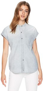 AG Adriano Goldschmied Button Down Shirt Blue/White