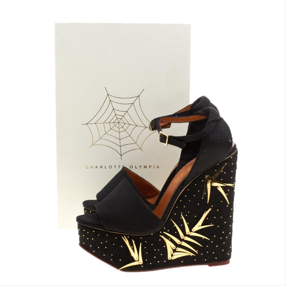 f3b8a4d7a6d3 Charlotte Olympia Canvas Peep Toe Embellished Wedge Black Sandals Image 7.  12345678