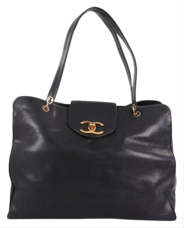 57ebb06a876d Chanel Supermodel Vintage Weekender Caviar Large Black Leather Tote ...