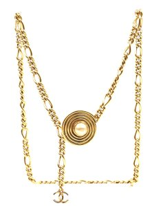 7873920c2bf74 Chanel CC gold pearl disc chain long two way necklace belt