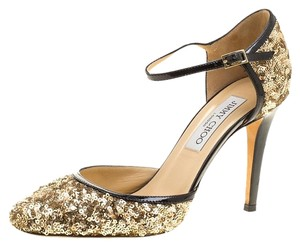 Jimmy Choo Sequin Leather Ankle Strap Sandals