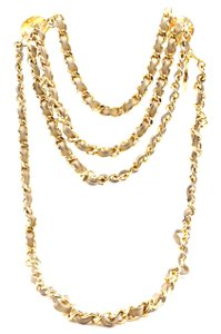b5a17fcb00ad1 Chanel CC gold chain leather medallion charm long necklace belt two way