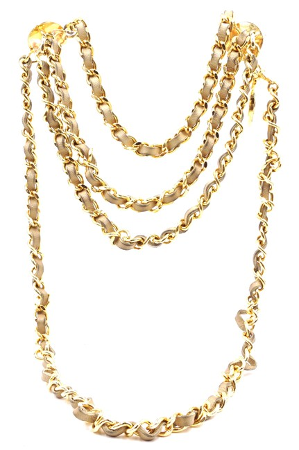 Item - #26409 Gold Beige Cc Chain Leather Medallion Charm Long Belt Two Way Necklace