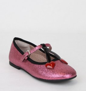 Gucci Pink W Toddler Shimmer Fabric Ballet Flat W/Hearts 26/Us 10 433118 5860 Shoes