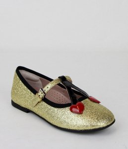 Gucci Gold W Shimmer Fabric Ballet Flats W/Cherry Hearts 21/Us 5 433118 8090 Shoes