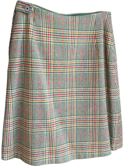 Item - Deep Green Rust Gold and Cream Plaid Vintage Wool Cute Preppy Skirt Size 2 (XS, 26)