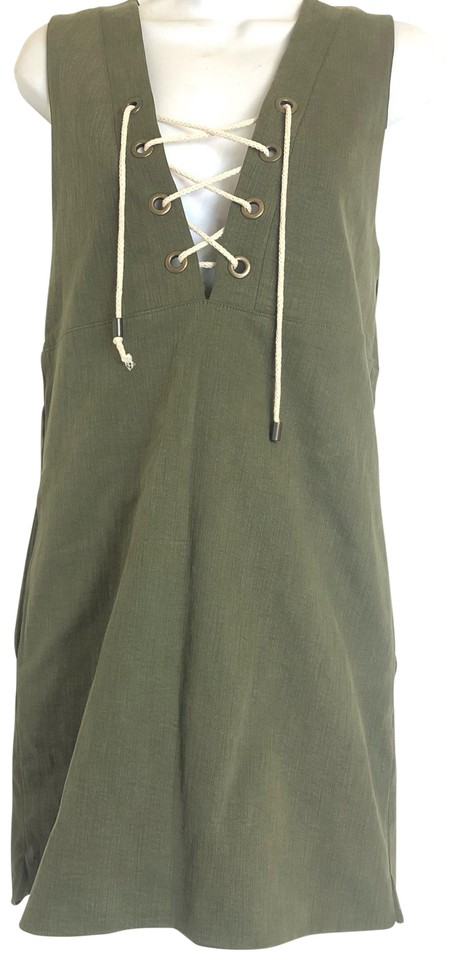 365716324b Sincerely Jules Green Sleeveless Cotton Short Casual Dress Size 8 (M ...