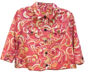 Ruby Rd. primary orangey coral with lime, magenta, white, orange and light beige Jacket