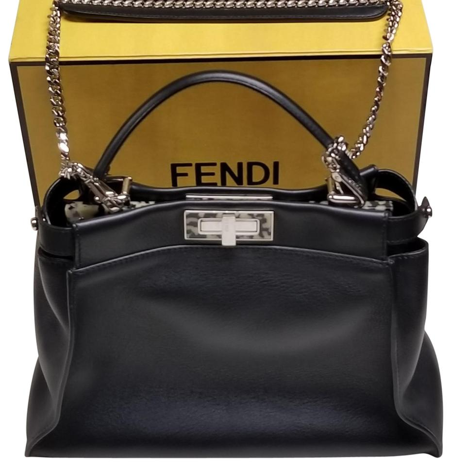 54ace7a755b4 Fendi Peekaboo Black with Tortoise Shell Bar Leather   Inner Suede ...