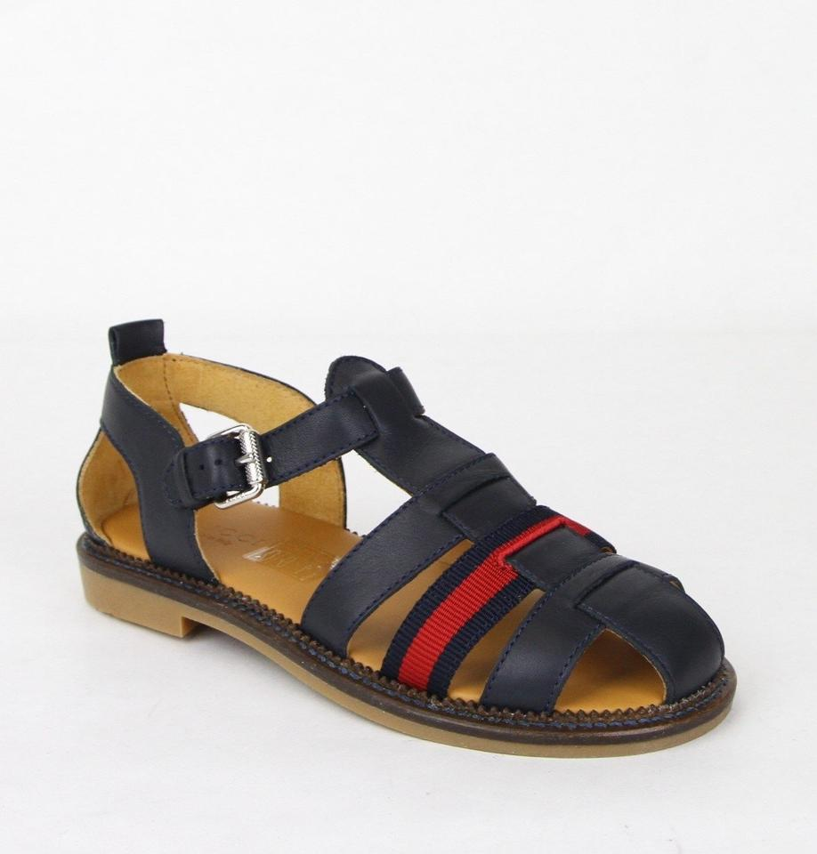 aa7f4109b1c4 Gucci Blue Children s Leather Sandals W Red Web 32 Us .5 455410 4060 ...