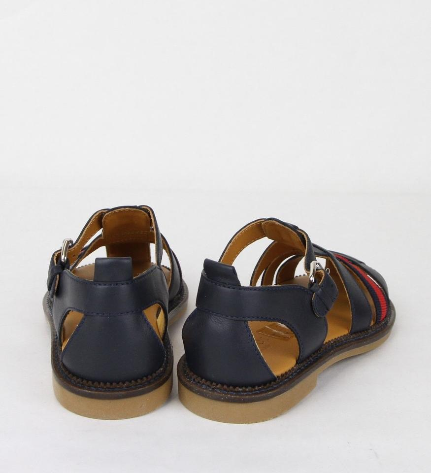 db72ad788 Gucci Blue Children s Leather Sandals W Red Web 32 Us .5 455410 4060 ...