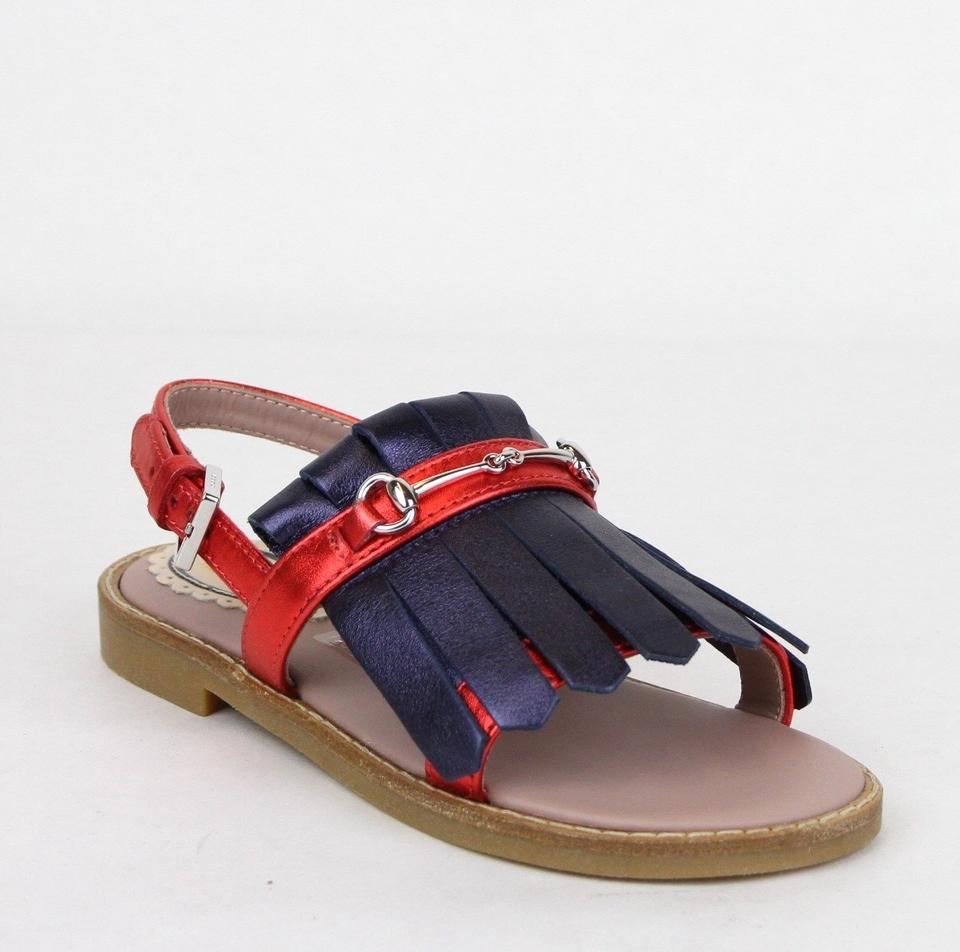 67645bd51bdd3 Gucci Red Blue Children s Leather Sandals W Red Web 26 Us 10 455410 4060  Shoes