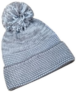 Rebecca Minkoff Mouline Fringe Beanie gray blue built-in headphones beanie