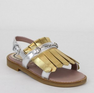 Gucci Silver/Gold Toddler Silver/Gold Metallic Leather Sandals 25/Us 9 455386 8064 Shoes