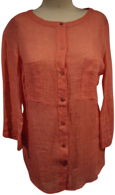 Item - Coral 3/4 Sleeve Tunic Size 6 (S)