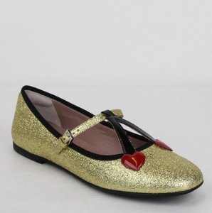 Gucci Gold Girl W Junior Shimmer Ballet Fabric Flats W/Hearts 34 439814 8090 Shoes