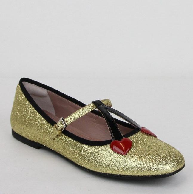 Item - Gold Girl W Junior Shimmer Ballet Fabric Flats W/Hearts 34 439814 8090 Shoes