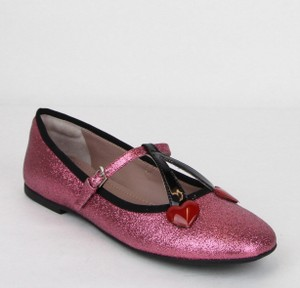 Gucci Pink Girl W Junior Shimmer Fabric Ballet Flats W/Hearts 34 439814 5860 Shoes
