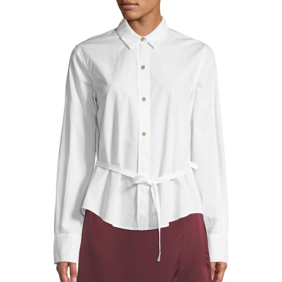 10521bf7db8fc5 Vince White Long Sleeve Blouse Button-down Top Size 4 (S) - Tradesy