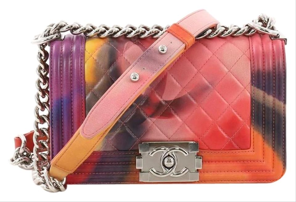 e9d44758379cfc Chanel Classic Flap Boy Flower Power Quilted Small Multicolored Lambskin  Leather Shoulder Bag