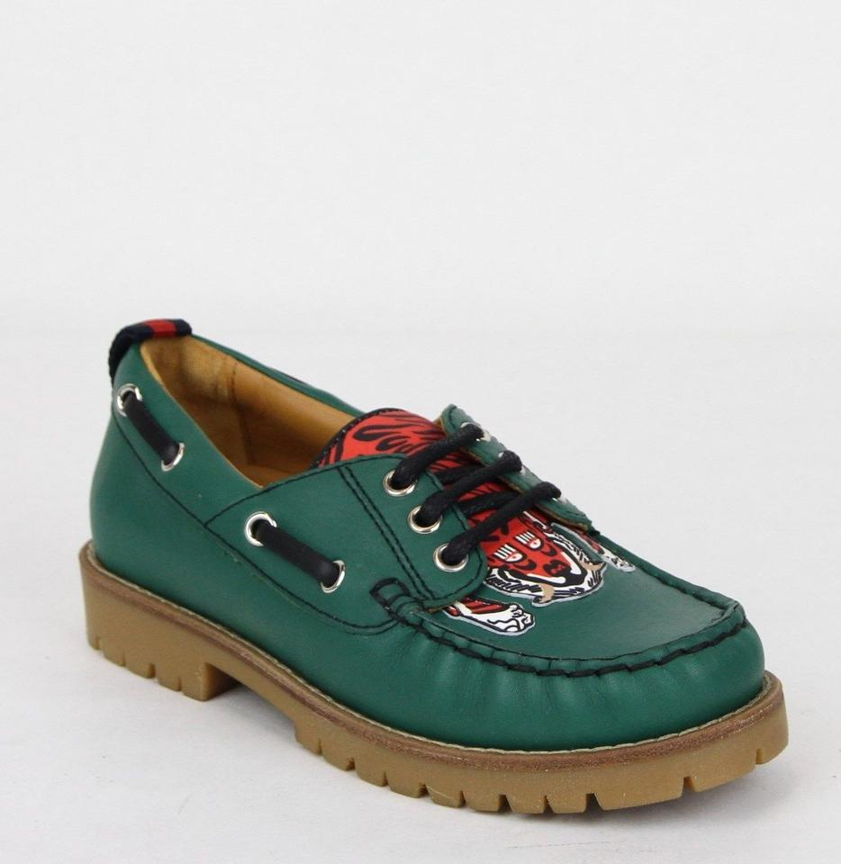 ccad70fc368 Gucci Green Toddler Leather Loafer W Red Animal Print 31 Us 13 455436 3162  ...