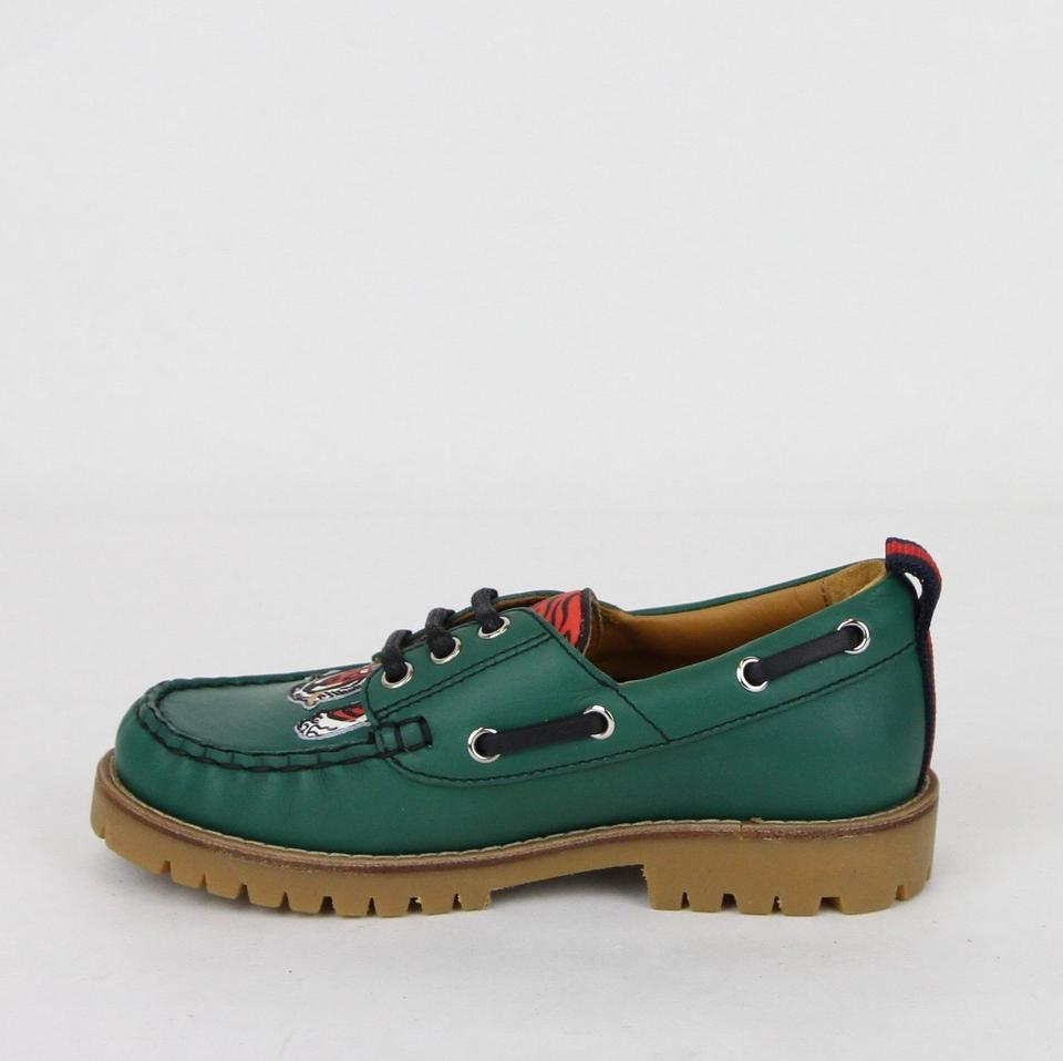 dc239bfc7d1 Gucci Green Toddler Leather Loafer W Red Animal Print 31 Us 13 ...