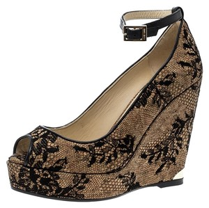 Jimmy Choo Lace Peep Toe Ankle Strap Wedge Beige Pumps