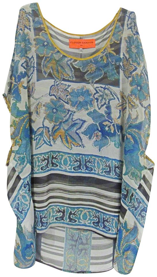 ccd4e6bf032b4 Clover Canyon Blue Yellow Black Floral Striped Cold Shoulder Blouse ...
