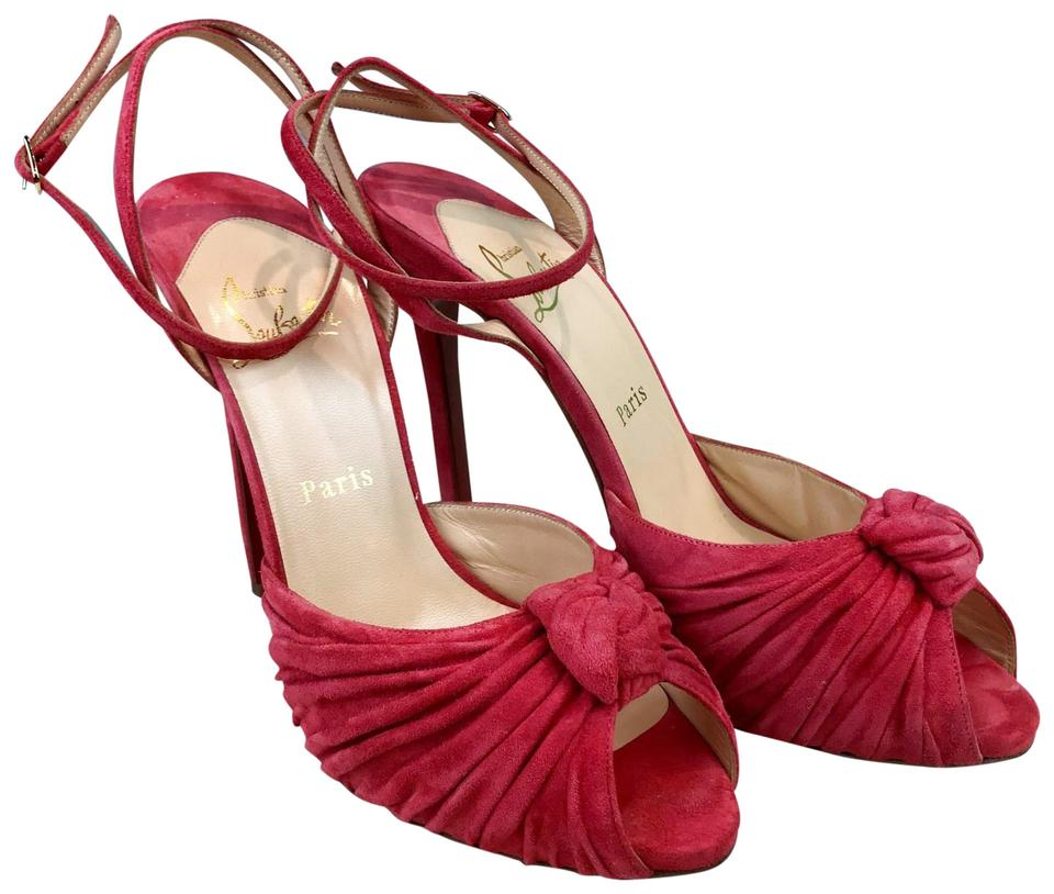 54e994d2eea Christian Louboutin Pink Pleated Suede Greissimo Knot Sale Sandals ...