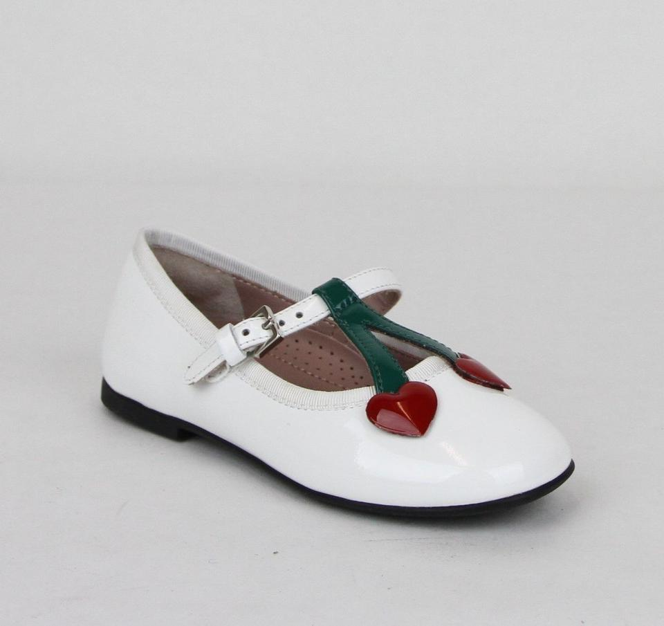fa1ae00d7 Gucci White Patent Leather Ballet Flats W Cherry Hearts 24 Us 8 433117 9072  ...