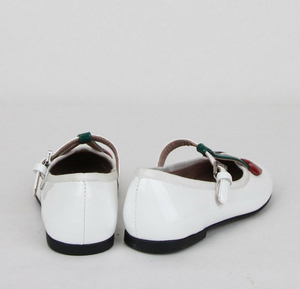 d564ddbcb Gucci White Patent Leather Ballet Flats W Cherry Hearts 24 Us 8 ...