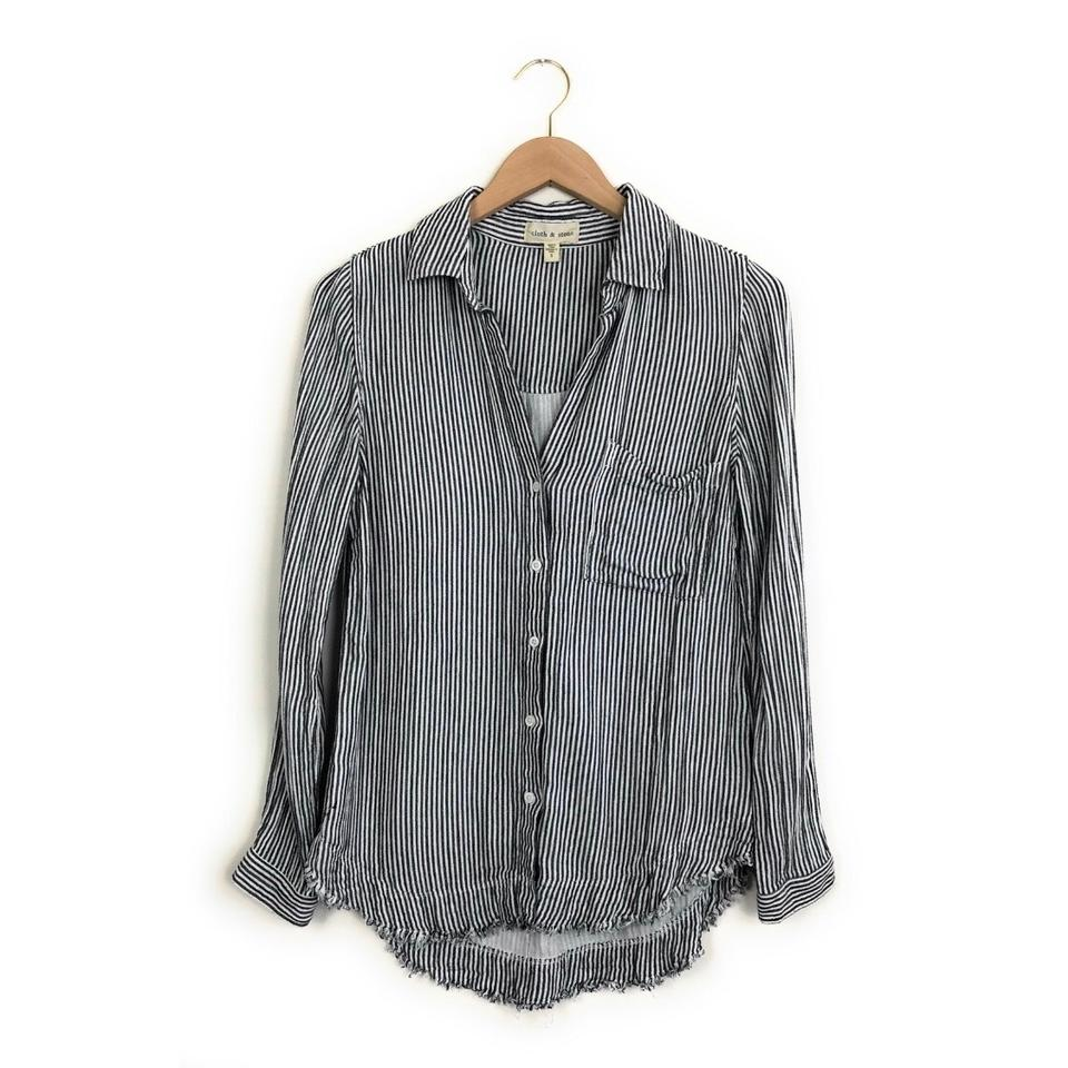 33fc8a0b Cloth & Stone Grey/White Striped Frayed Hem Button-down Top Size 4 ...