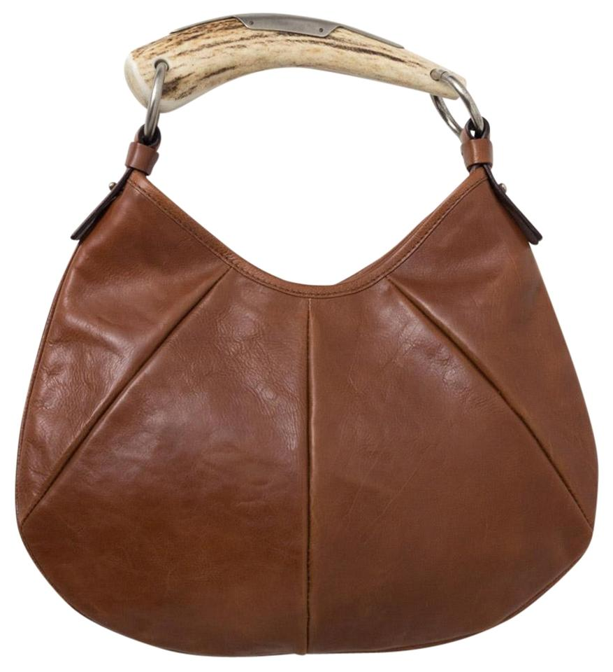 14f1171e1c Saint Laurent Mombasa Ysl Yves Horn Small Handbag Brown Leather Shoulder Bag
