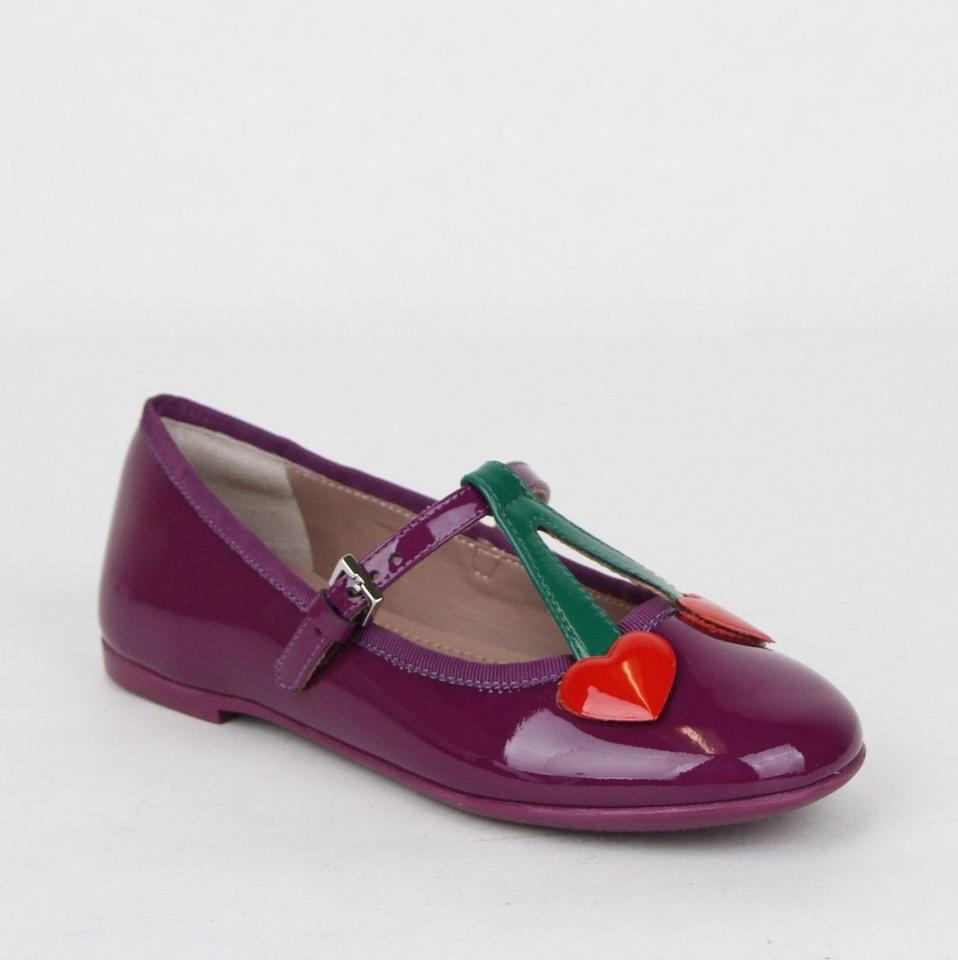 16b74c3c434ca Gucci Purple W Patent Leather Ballet Flats W Hearts 31 Us 13 433119 5281 ...