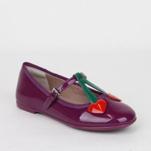 Gucci Purple W Patent Leather Ballet Flats W/Hearts 32/Us .5 433119 5281 Shoes