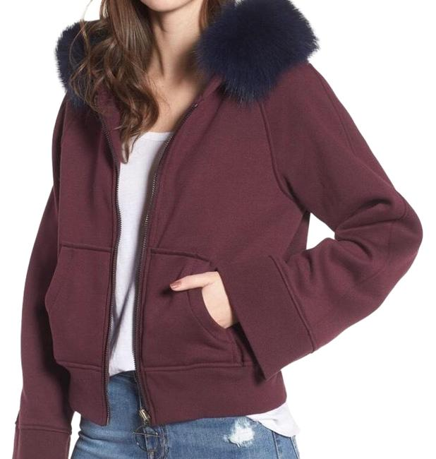 Item - Burgundy with Genuine Blue Fox Fur Trim Luxe Hooded Jacket Style Number: 5540836. Coat Size 6 (S)