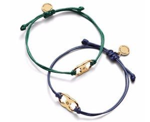 Tory Burch New Tory Burch Embrace Ambition Silk Gemini Bracelet NAVY & GREEN