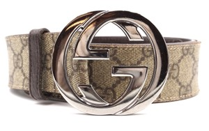 952674fc71b Gucci GG logo silver buckle leather Belt Size 90 36
